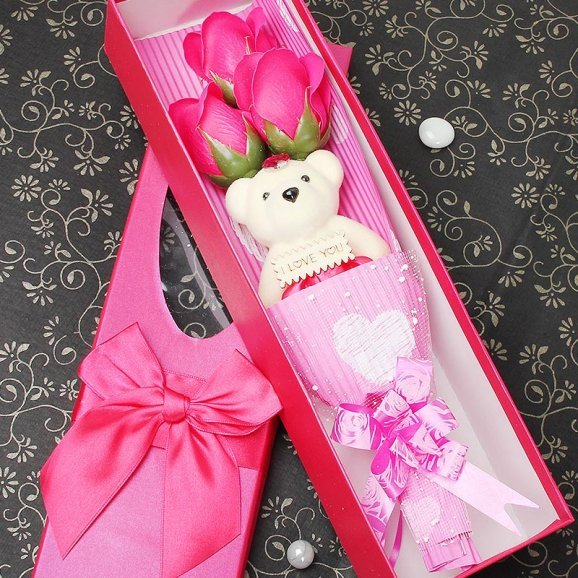 Romantic rose teddy stick
