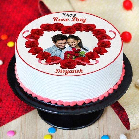 rose day special photo cake - Zoom View