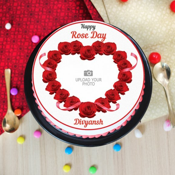 rose day special photo cake - Top View