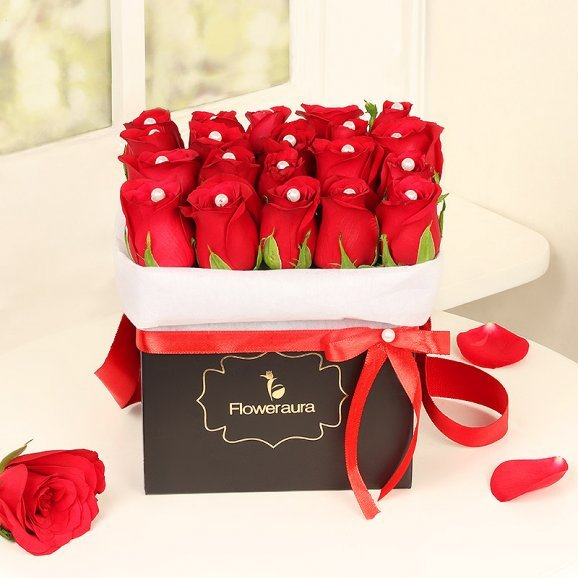 Red Roses with Pearls Arrangement in a Black Box