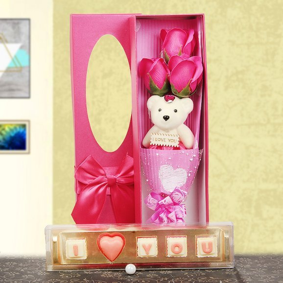 Rose teddy stick and chocolates combo