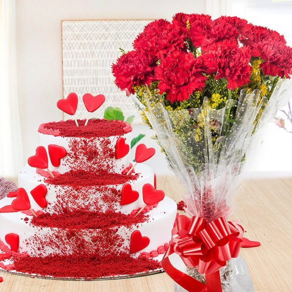 Rouge In Love Combo - 3 tier red velvet cake with 10 red carnations bouquet
