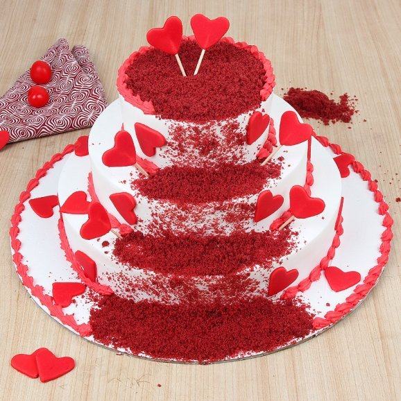 3 tier red velvet cake - A gift of Rouge In Love Combo