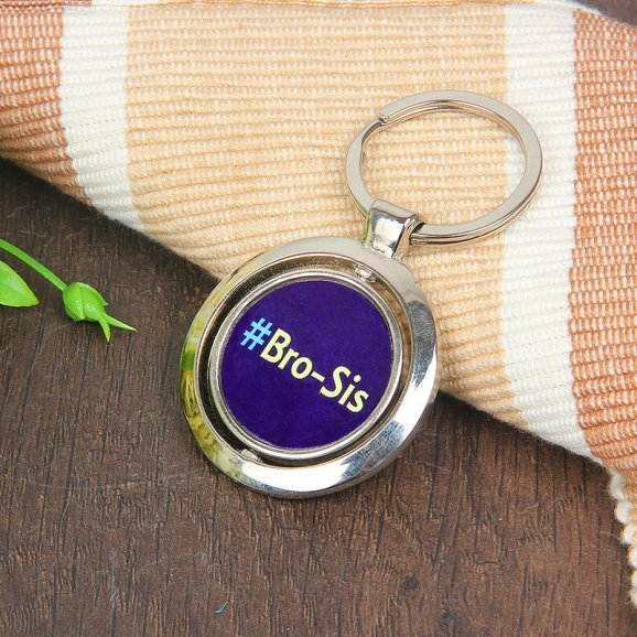 Keyring for Brother and Sister with Back Sided View