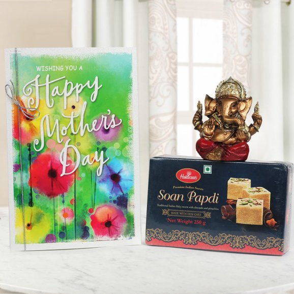 A Mothers Day Special Gift including Mothers Day Card with Lord Ganesha and Soanpapdi