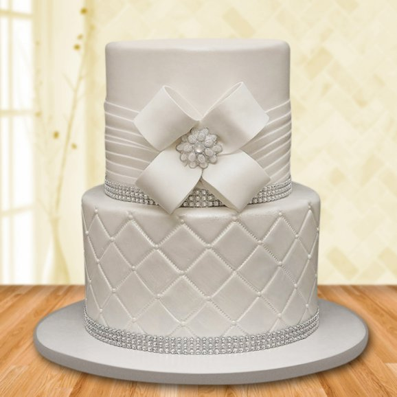 2 Tier Silver Pearls Cake For Girls