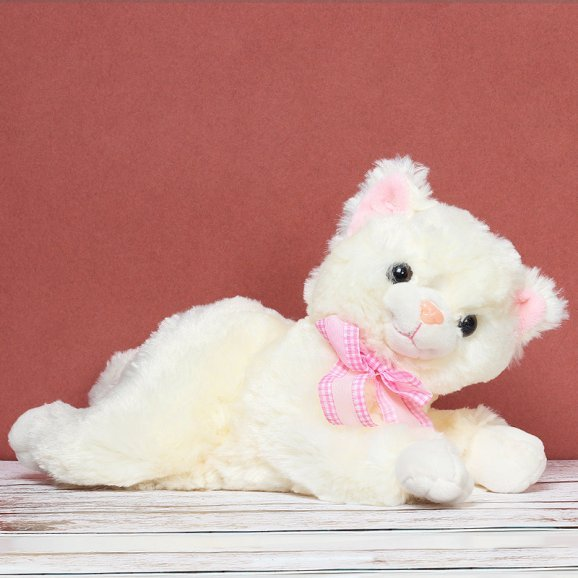 10 Inches White Kitty with Pink Ribbon