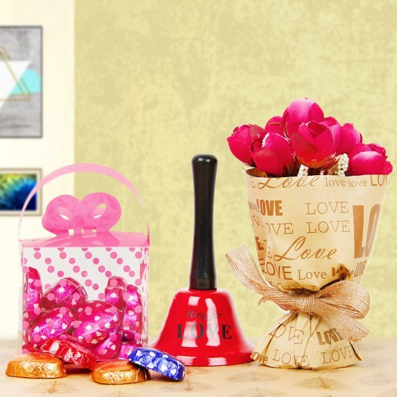 Artificial rose bouquet with love bell and chocolates combo
