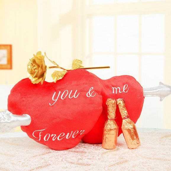 Double heart cushion with an artificial rose and handmade chocolates combo