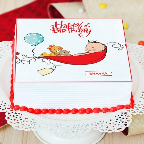 Square Shaped Cake for New Born Baby