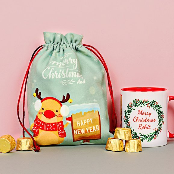 Christmas Combo of Personalised Mug with Chocolates
