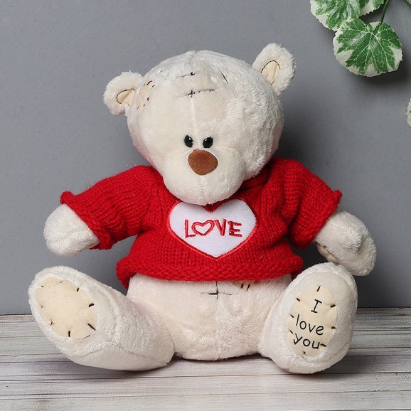 Teddy Wearing a Red Love T Shirt
