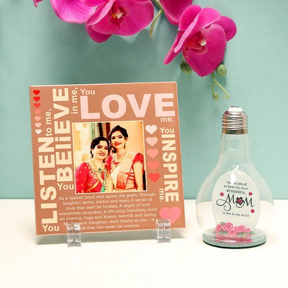 Set of Personalised Photo Frame and Bulb Quotation