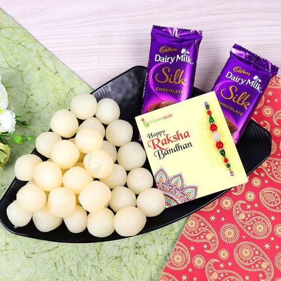 Rakhi with Two Dairy Milk Silk and One Kg Rasgulla