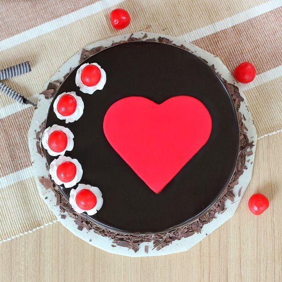 Black Forest Cake with Fondant Heart and Cherries with Top View