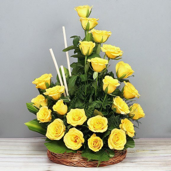 Yellow Roses Arrangement in a Basket