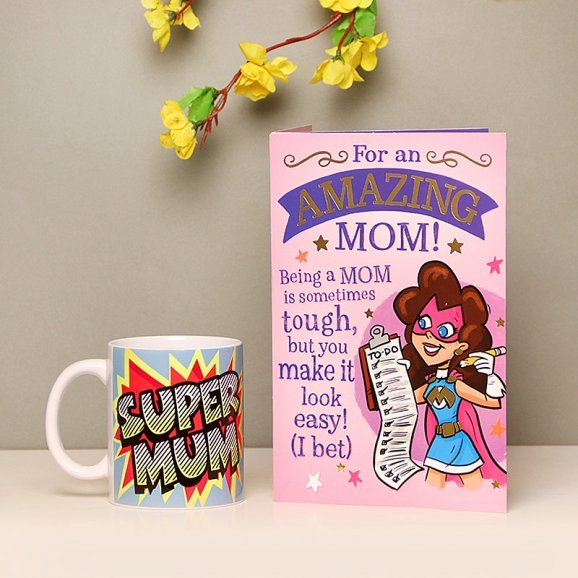 Super Mother Love - Set of Mug and Card for Amazing Mom