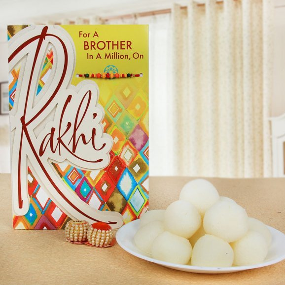 Sweet Delight - A Rakhi with Greeting Card Combo for Brother