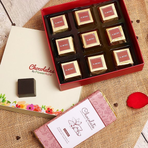 Almond Flavored Handmade Chocolates in a Box