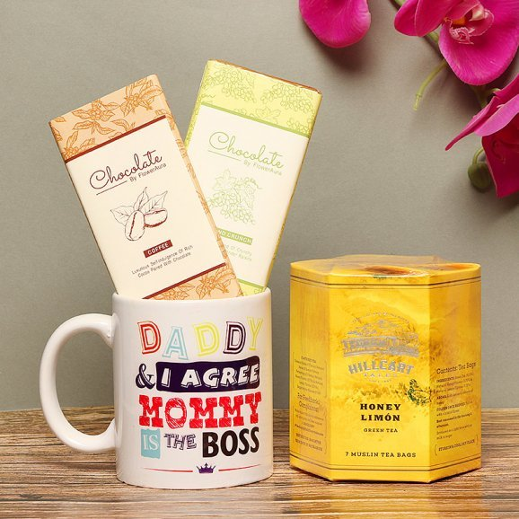 Sweetilicious Love - Mothers Day Gift Set of Chocolates with Mug and Green Tea