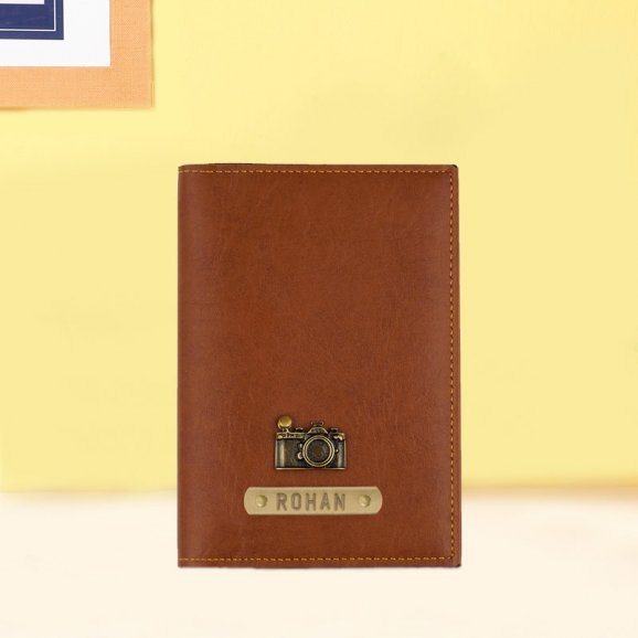 Adorable Tan Personalized Passport Holder
