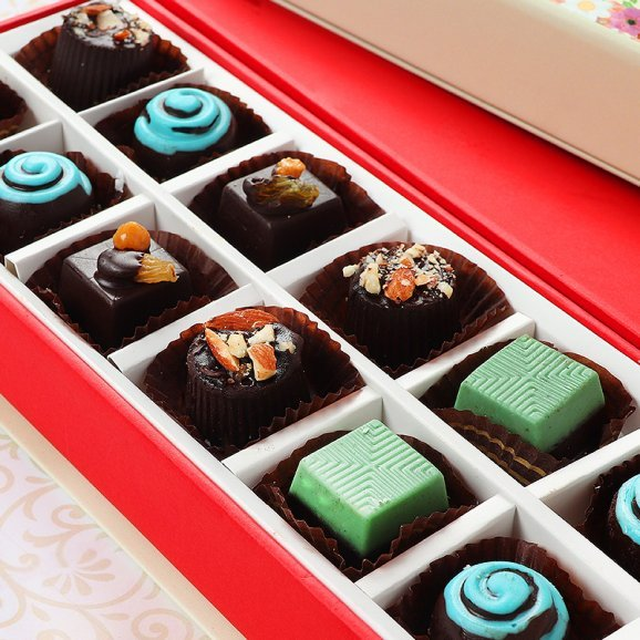 Multi Flavored Handmade Chocolates with Zoomed in View