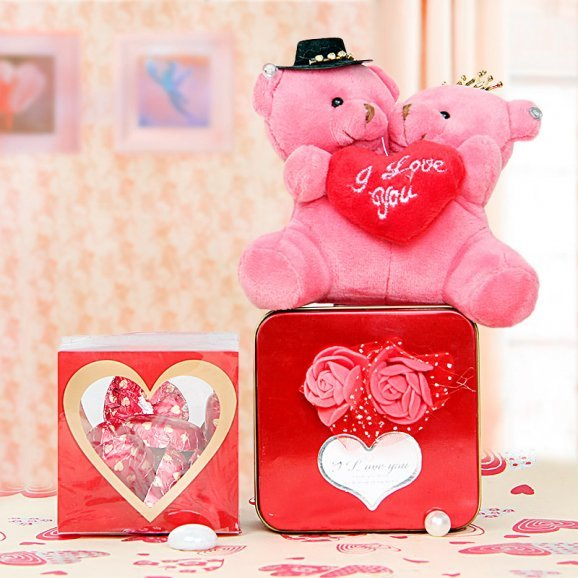 Pink teddy and chocolates combo