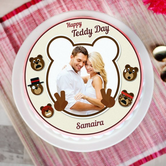 Teddy day special photo cake