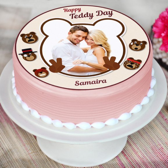 Teddy day special photo cake - Zoom View