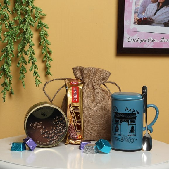 Mug with Candies and Chocolates in a Jute Bag