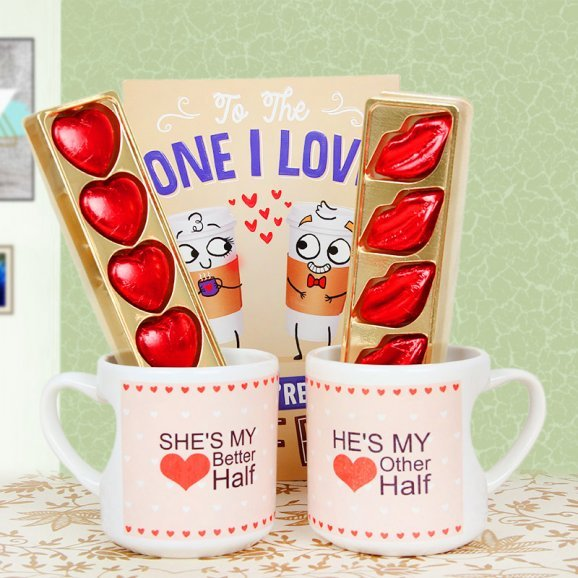 Greeting Card with a Pair of Mugs and Chocolates