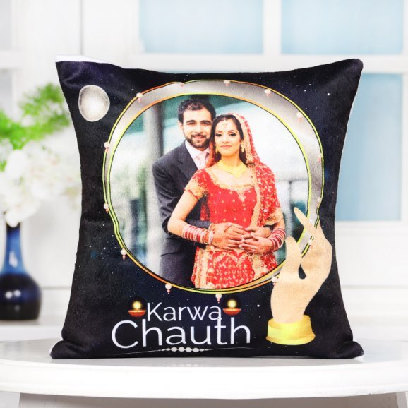 Personalised LED Karwa Chauth Cushion with Bright View