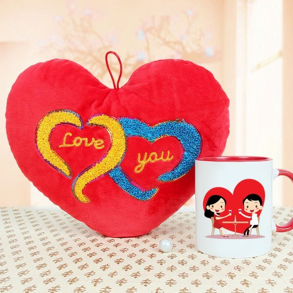 A Lovely Heart Shaped Cushion and a Mug Combo