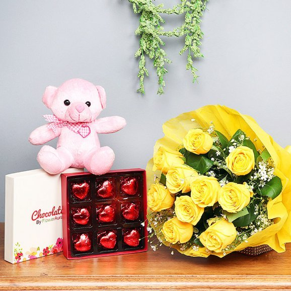Combo of Yellow Roses Bunch and Chocolates with Teddy