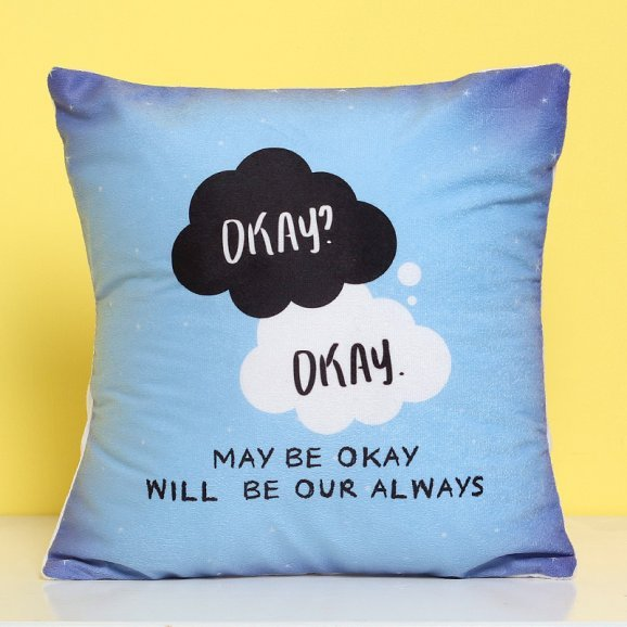 Sky Blue Colored Quoted Cushion