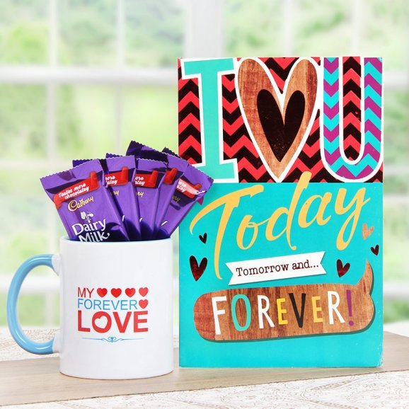 A Combo of a Mug and a Greeting Card with 5 Dairy Milk Chocolates