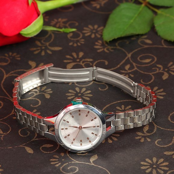 Branded Watch with White Dial