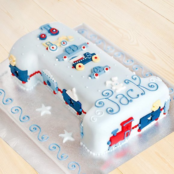 Trucks And Trains Number One Fondant Cake