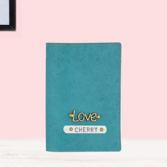Turquoise Color Personalised Passport Cover