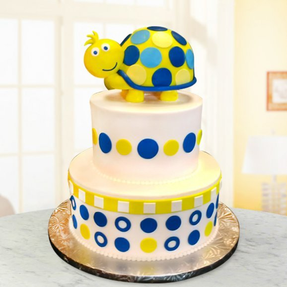 Two Tier Turtle Cake For Kids Birthday