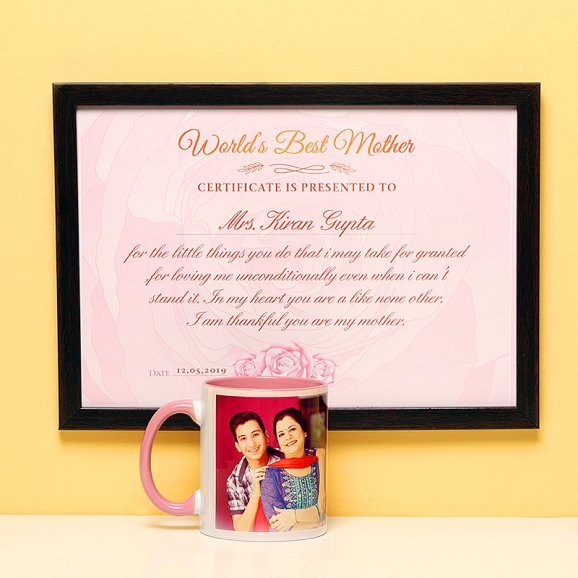A Combo of Certificate of Worlds Best Mom and a Personalised Mug