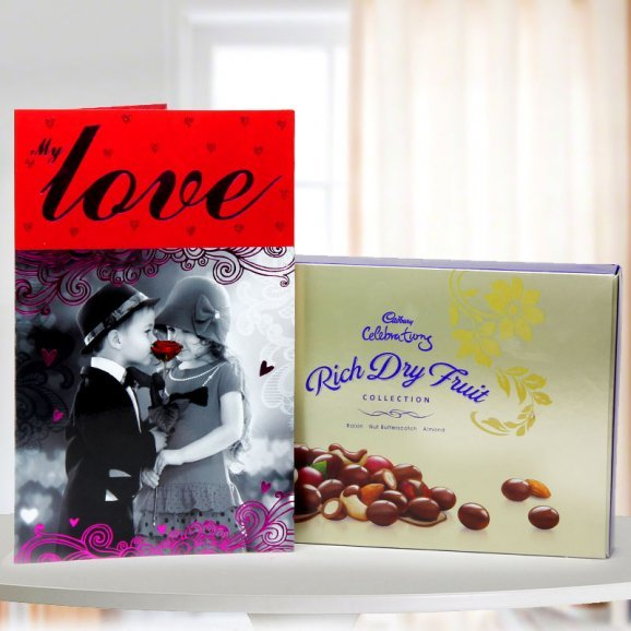 A pack of Cadbury Rich Dry Fruit Collection and A Greeting Card