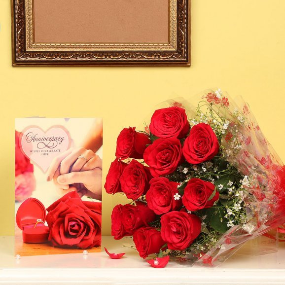 Bunch of Red Roses with Greeting Card Combo