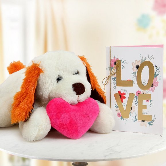 A 15 inch soft toy puppy A small heart cushion and A Love card