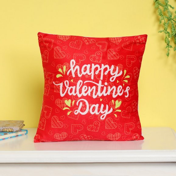 Happy Valentines Day Red Cushion