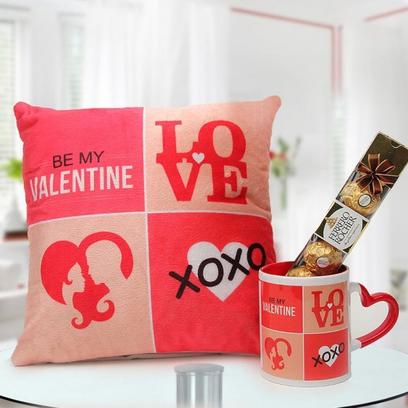 12x12 Be My Valentine cushion a Red White Be My Valentine Coffee Mug and 4 Ferrero Rocher box