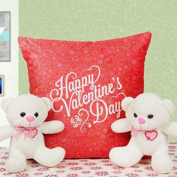 Two Teddies and a Valentine Cushion Combo