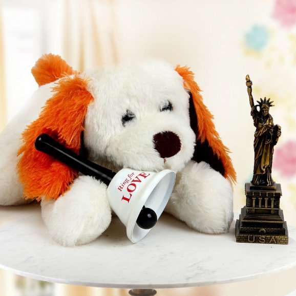 A 15 Inch Soft Puppy Teddy one Statue of Liberty Miniature and A Ring for Love Bell