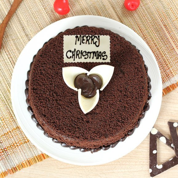 Chocolatey Christmas Cake - Top View