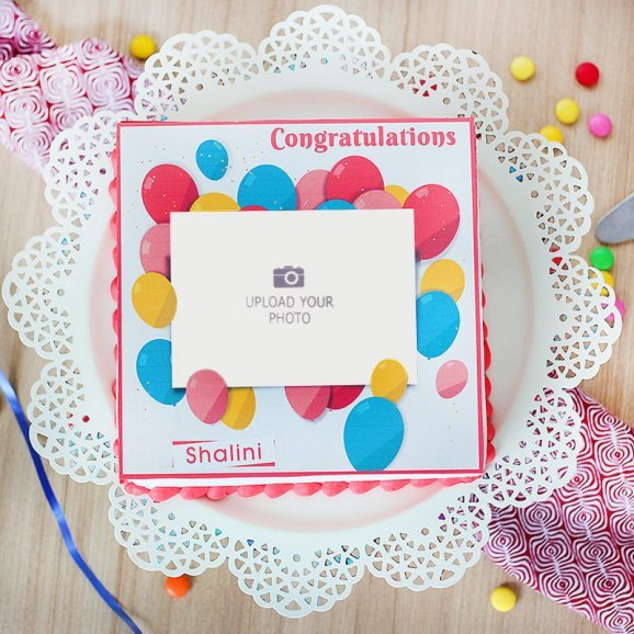 congratulations photo cake - Top View